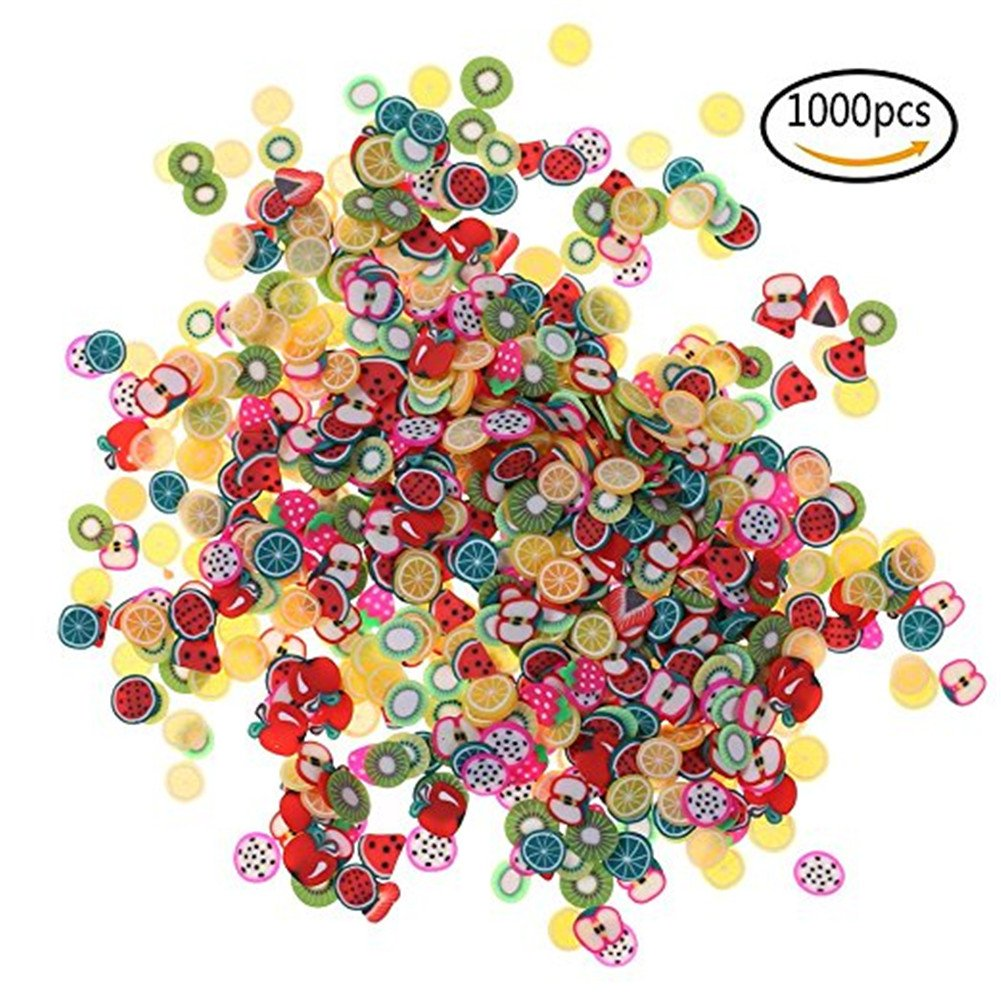 Vikenner 1000 Pcs Nail Art 3D Fruit Fimo Slices Polymer Clay DIY Slice Decoration Nail Sticker - 3mm