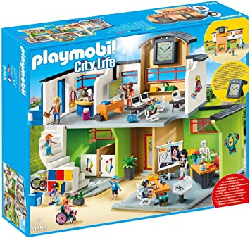 PLAYMOBIL® City Life 4er Set 9454 9455 9456 9457 Turnhalle Klasse Chemie Kiosk