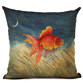 Coolsummer Goldfish Wal Hai Fisch Qualle Muster Design Leinen Kissen  Contracted American Style Dekorative Als Cover