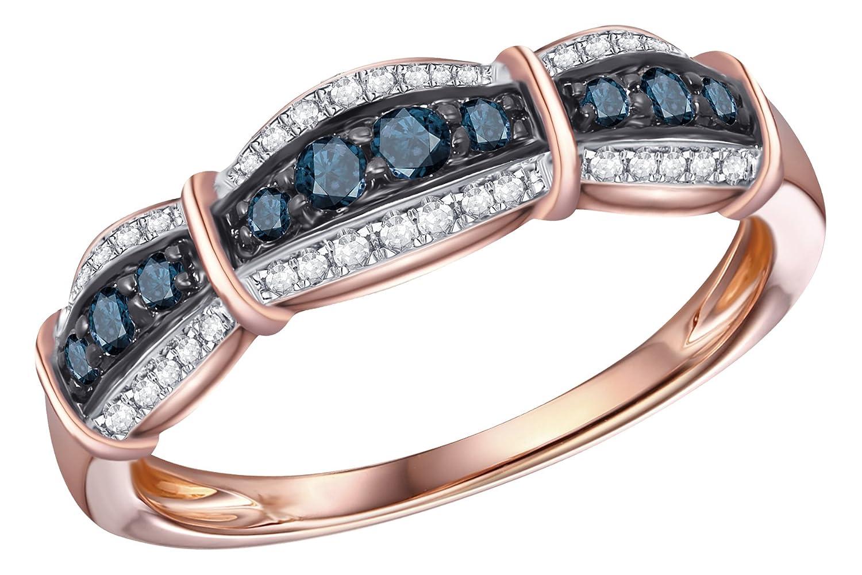 Prism Jewel 0.30Ct Round Blue Diamond With Diamond Anniversary Ring