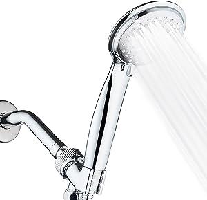 alwinDeco High Pressure Handheld Shower Head - 5 Spray Settings Hand Shower with Extra-long 77 Inch Hose Rainfall Showerhead All-Chrome for Bathroom