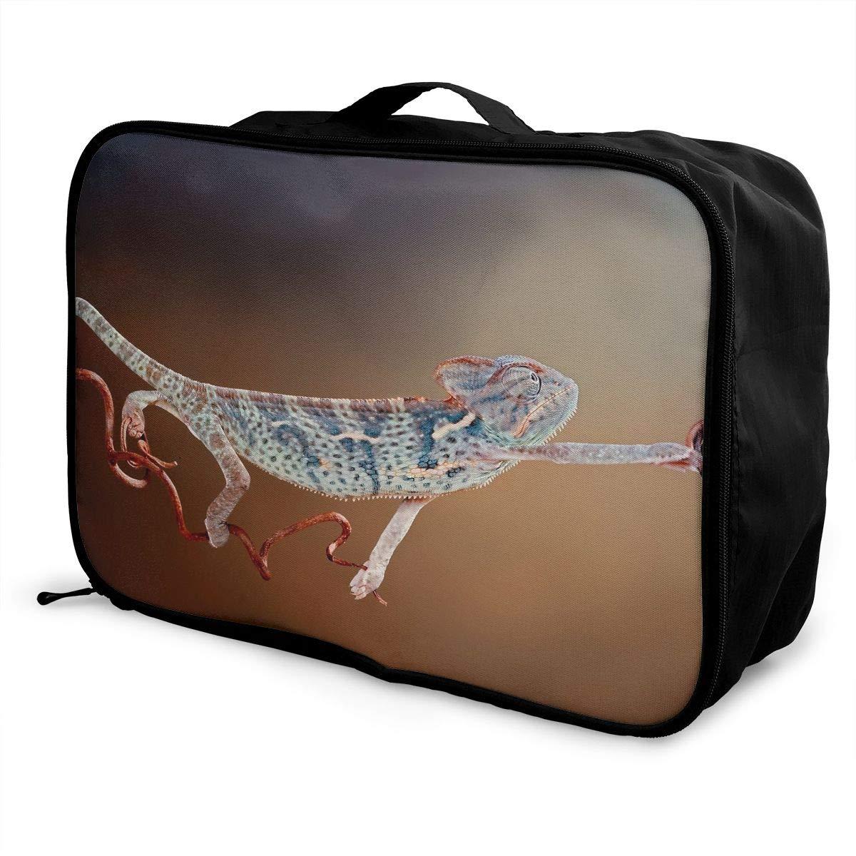 Travel Luggage Duffle Bag Lightweight Portable Handbag Gecko Print Large Capacity Waterproof Foldable Storage Tote