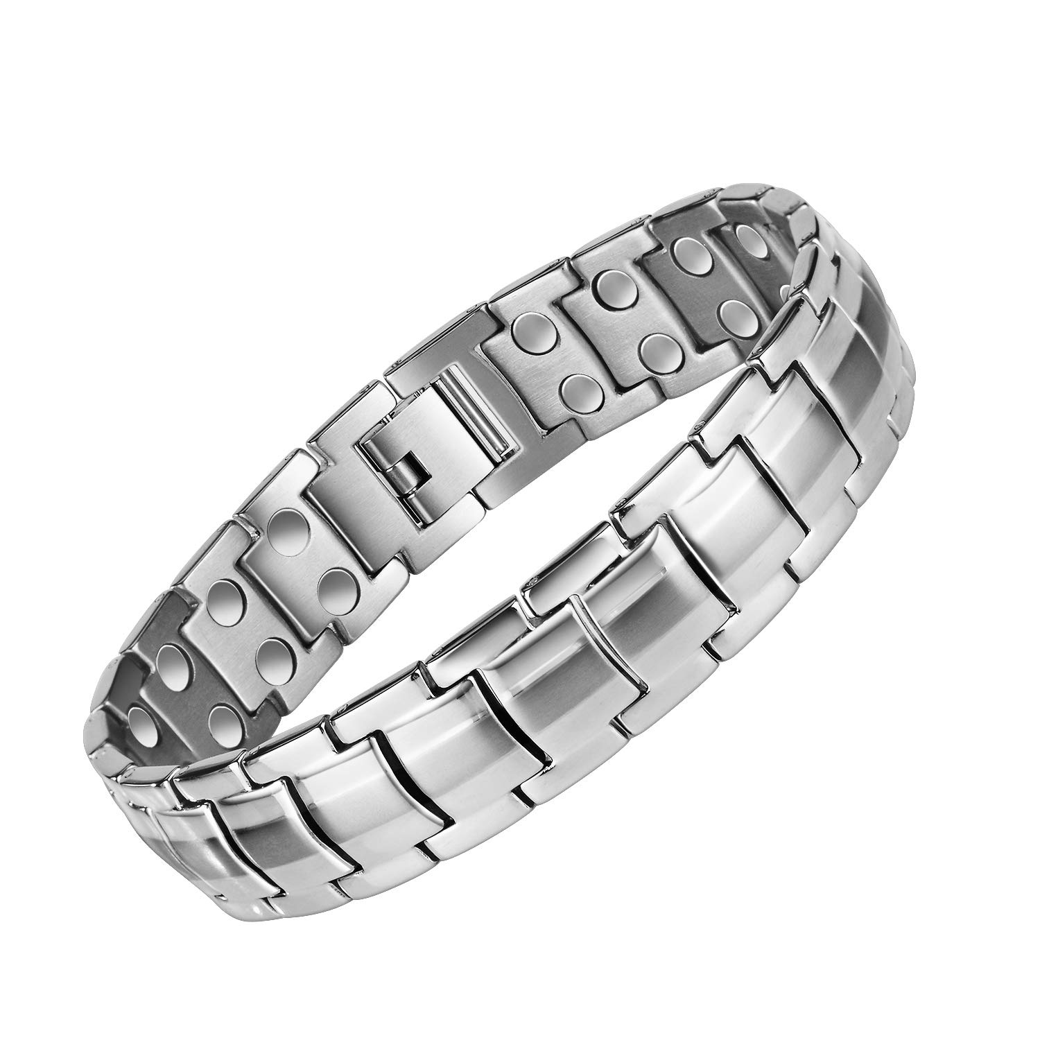 Mens Elegant Magnetic Bracelets,Titanium Magnetic Therapy Bracelets Double Strong Magnet for Arthritis Pain Relief Carpal Tunnel,Mens Magnetic Bracelets with Link Remove Tool (Silver) ¡ by MASALING