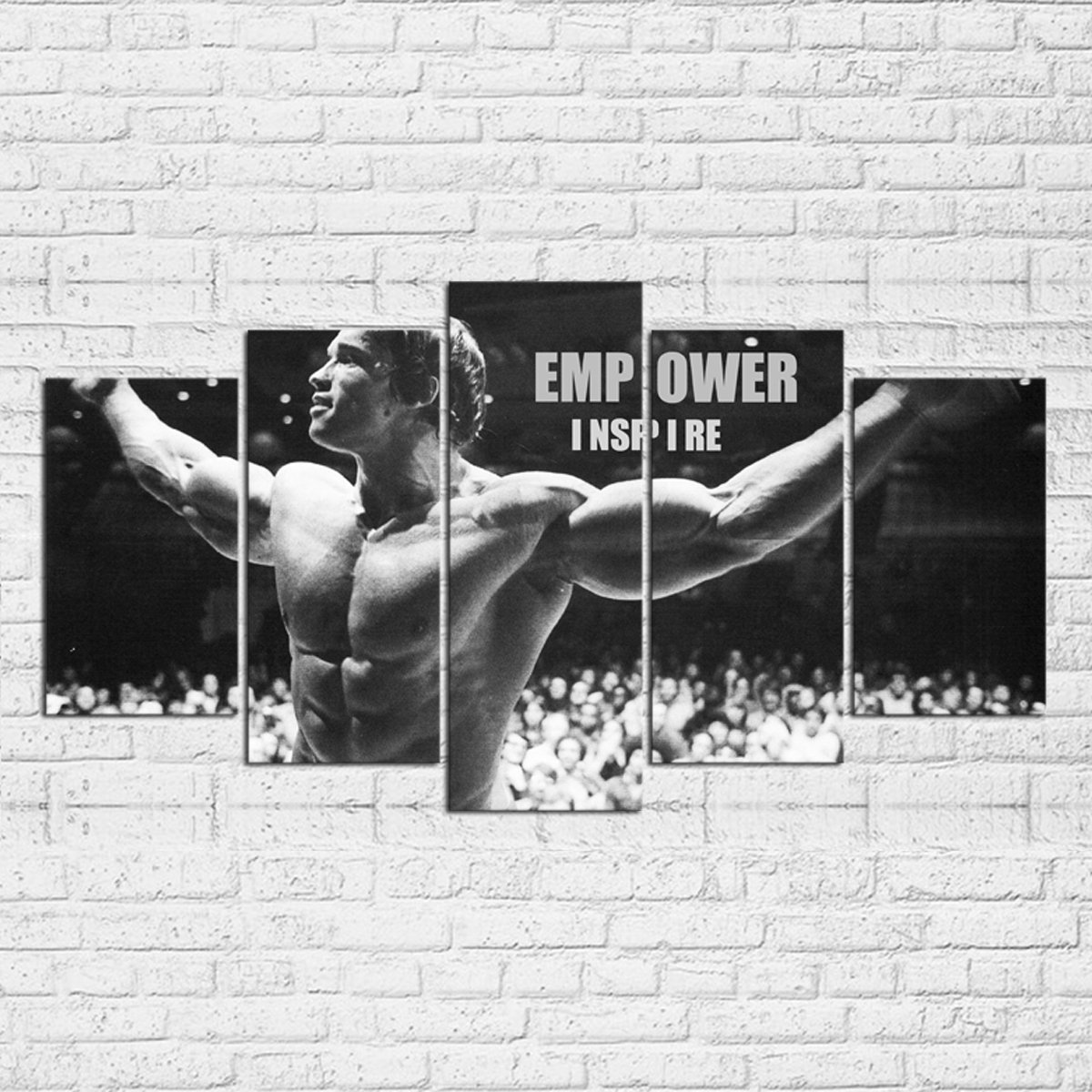 Empowered Living - 5PCS Framed Arnold Schwarzenegger Empower Inspire Canvas - Empower Inspire Motivational Wall Art for Office/Home Wall Decor (XLarge: 4060cm x2pcs+4080cm x2pcs+40100cm x1pc)