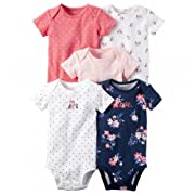Carter's Baby Girls 5-Pack Short-Sleeve Original Bodysuits (Pink Owls) (12 Months)