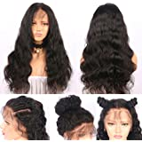 "Niome 24"" Glueless Long Natural Black Wave Synthetic Wig Lace Front Heat Resistant Hairline Curly Hair Wigs"