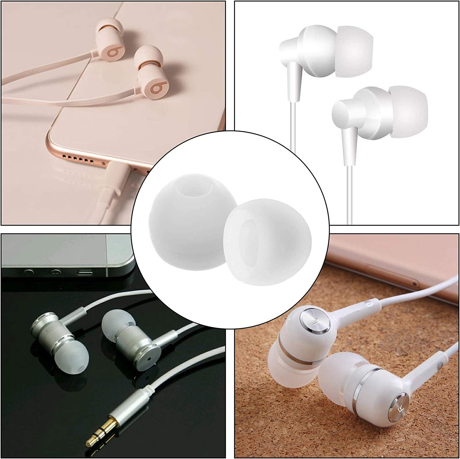 WIFUN Eartips Silicone 20 Pcs Replacement Earphone Earbuds Tips Compatible for Sport Bluetooth Headphones
