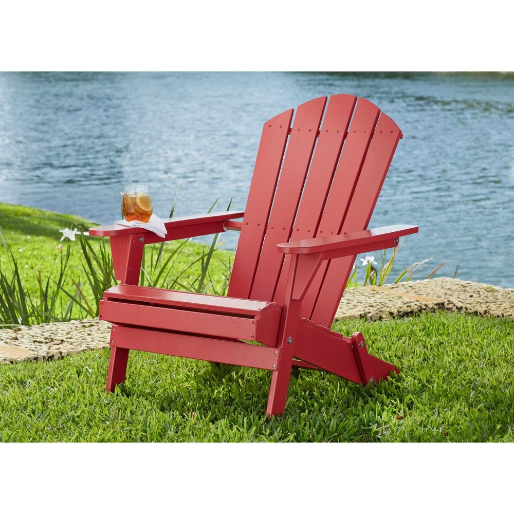2-Pack Outdoor Folding Adirondack Chair, Hampton Bay, Adirondack Chair, Patio Chair, Wood Outdoor Furniture, Outdoor Chair, Patio Folding Chair (Choose Your Color) (Chili Red) by Hampton Bay Patio (Image #2)