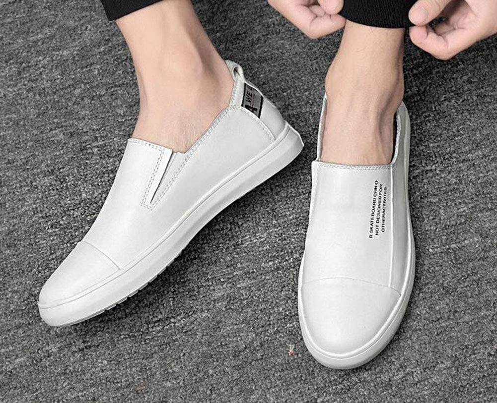 Hy Mens Casual schuhe Spring New Light Light Light Soles Casual Leather schuhe Tide Flow Personality Low Top Loafers & Slip-Ons Trekking Camping,Weiß,44 bc9a0e