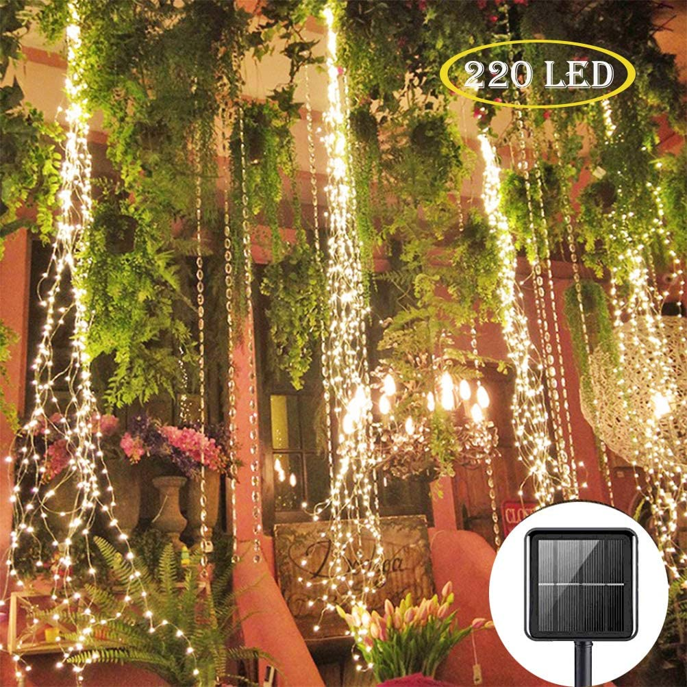 220 LED Solar Firefly Bunch Lights 8 Flashing Modes Fairy Copper Wire Waterproof String Lights Decorative Vine Solar Watering Can Lights Outdoor