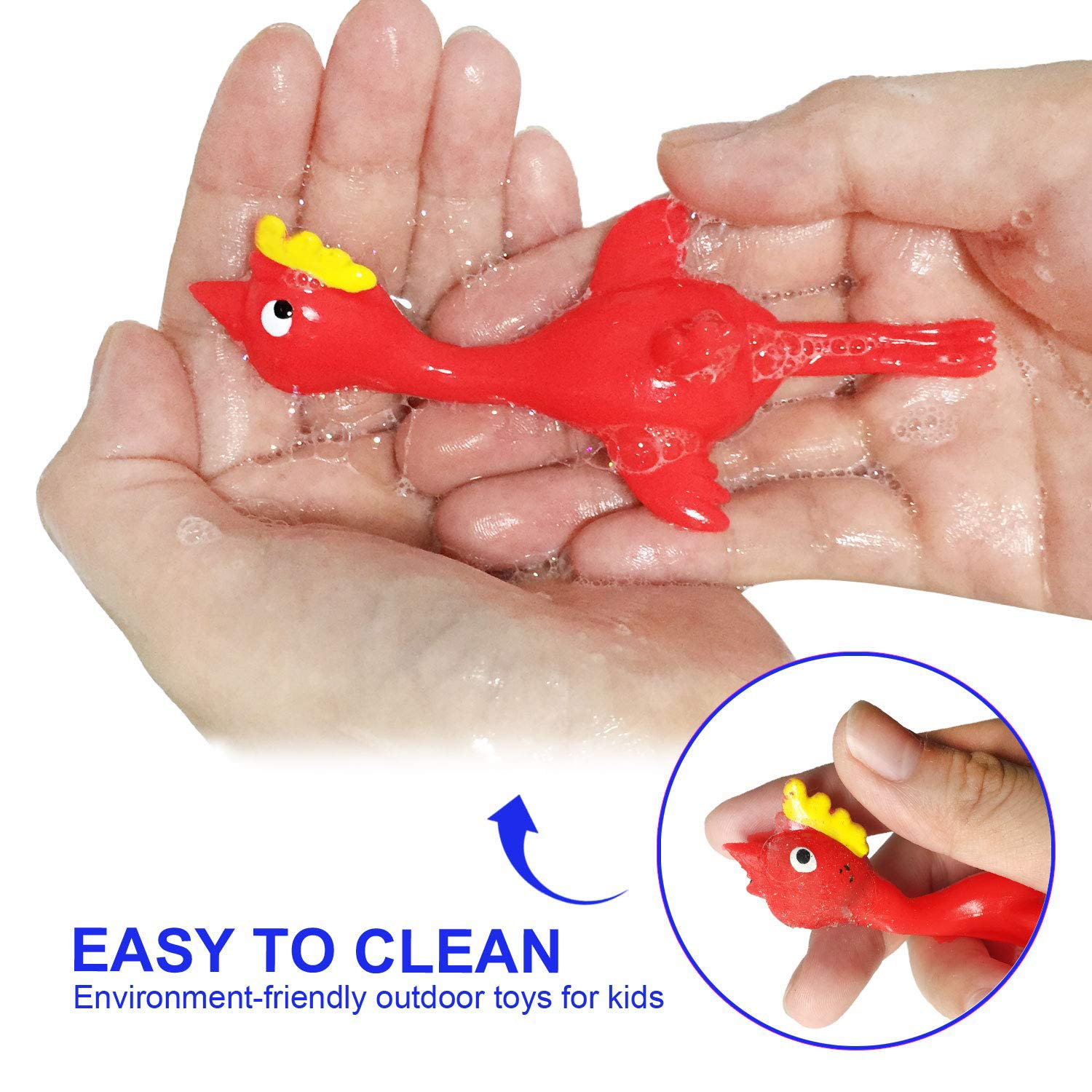 Stretchy Funny Rubber Chickens Slingshot Party Activity for Children,Chicken Flying Gifts for Kids Adults Yellow Flicking Chicken MeiMeiDa 20 Pack Slingshot Chicken