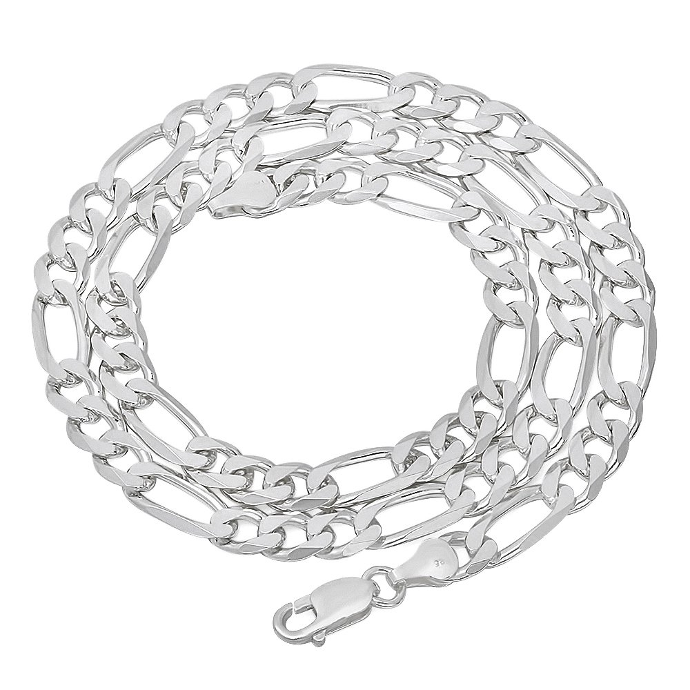 6.5mm 925 Sterling Silver Nickel-Free Figaro Link Chain, 18'' - Made in Italy + Bonus Polishing Cloth by The Bling Factory (Image #4)