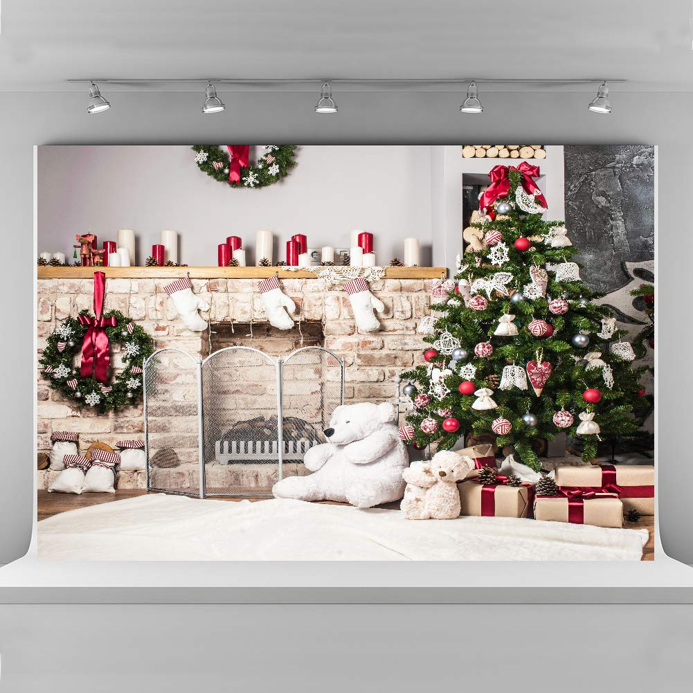 Christmas Backdrops Photography 10x6 5ft Seamless Cloth White Brick Fireplace Photo Studio Background Props Toy Bear Backdrop Children Birthday Party