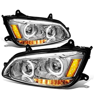 DNA MOTORING Chorme HL-HAY-005-CH LED DRL + Turn Signal Dual Projector Headlight Lamp Set: Automotive [5Bkhe1003808]