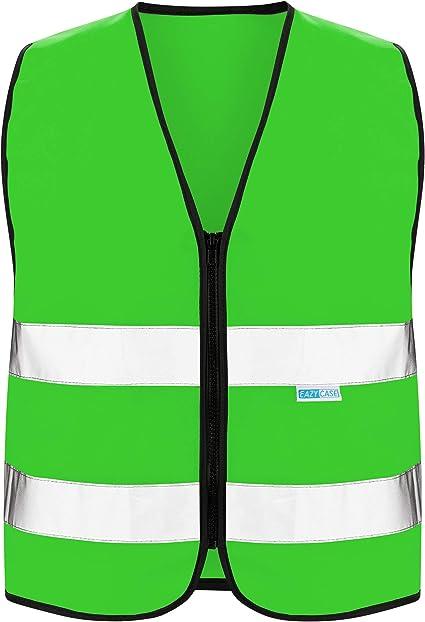 Eazy Case Reflektorweste Für Kinder Sicherheitsweste Reißverschluss Warnweste Mit Reflektoren Atmungsaktiv Reflektierend Zur Erhöhung Der Sichtbarkeit Im Straßenverkehr Xs Grün Auto