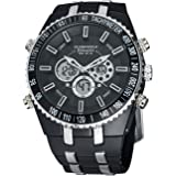 Globenfeld Jetmaster Men's Sports Watch - Analogue & Digital Display - Luxury Simple Classic Design - Jet Black Case - Silicone Rubber Wrist Band - 5 Year Warranty - 60 Days Risk Free