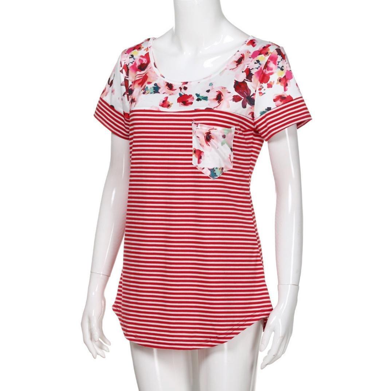 Cinnamou Camiseta de Manga Corta con Floral de Moda para Mujer Tops de T/única Casual a Rayas con Bolsillo de Cuello en Redondo