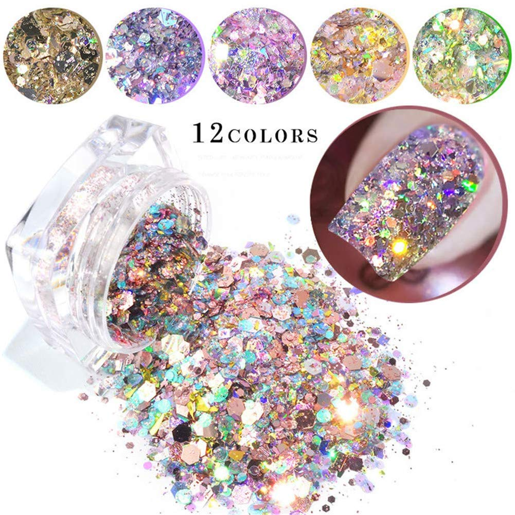12 Boxes Nail Glitter Chameleon Nail Sequins Iridescent Flakes Ultra-thin Tips Colorful Mixed Paillette Face Body Hair Nail Art by xingqing