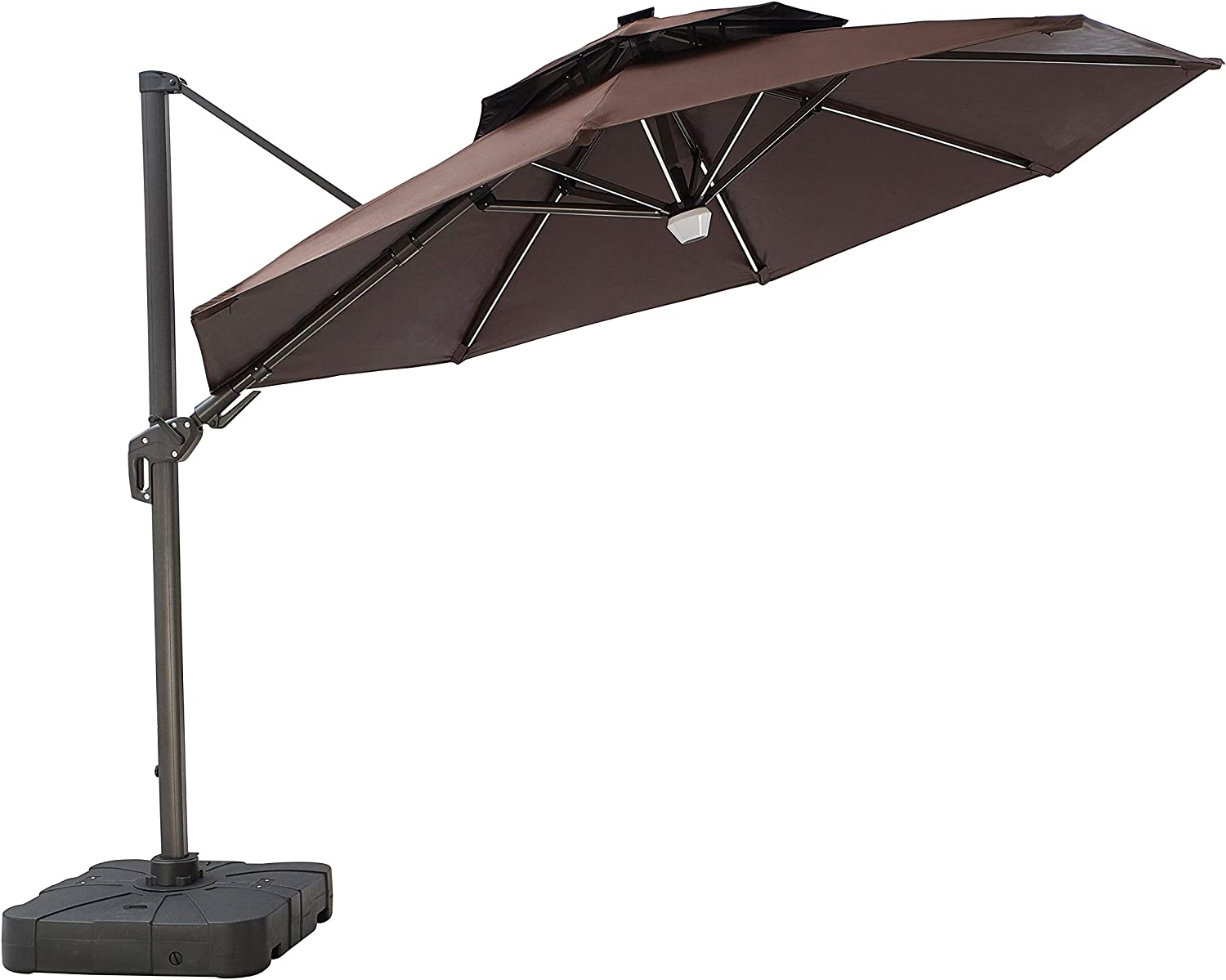 LOKATSE HOME 12 Ft Solar Powered Cantilever Patio Umbrella Set with Bluetooth Speaker and 8 LED Light Bars Metal Pole 360 Degree Rotation, Tilt Angle Adjustable, Include Base, Coffee