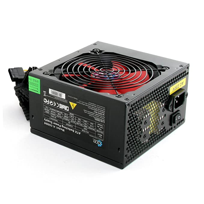 Switching Power Supply PSU 500W ATX with 12cm Silent Red Fan / for ...