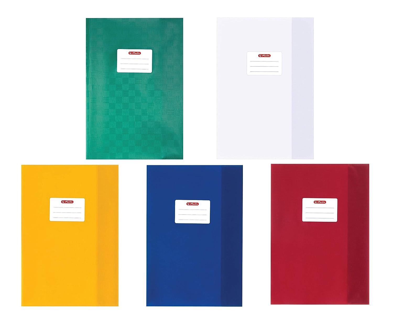 Herlitz 5204003 Hefthüllen, PP, Baststruktur, 100 my (1x Sortiert   10 Farben)