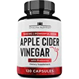 Organic Apple Cider Vinegar Capsules (120 Capsules | 1500 mg) with Prebiotics | Apple Cider Vinegar Pills | Fiber Supplement