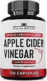 Organic Apple Cider Vinegar Capsules (120 Capsules | 1500 mg) with Prebiotics | Apple Cider Vinegar Pills | Fiber…