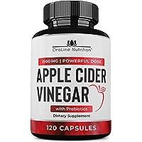 Organic Apple Cider Vinegar Capsules (120 Capsules   1500 mg) with Prebiotics   Apple Cider Vinegar Pills   Fiber Supplement for Immune Support & Gut Health