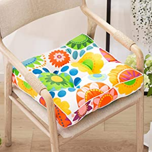 """Nathime Patio Square Chair Pads Outdoor/Indoor Bistro Home Office Kitchen Thickened Tatami for Hardwood Floors Dining Chairs Seat Cushion 1Pc (Sunflowers 15.6"""")"""