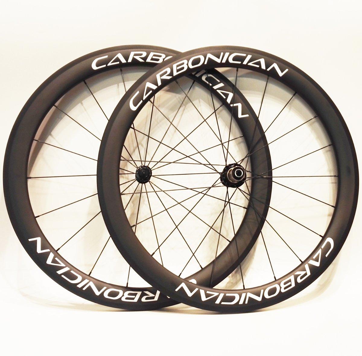 カーボニシアン 50mm チューブ状カーボンホイール 700c ロードバイク 18/21スポーク   B07FMPYTHC