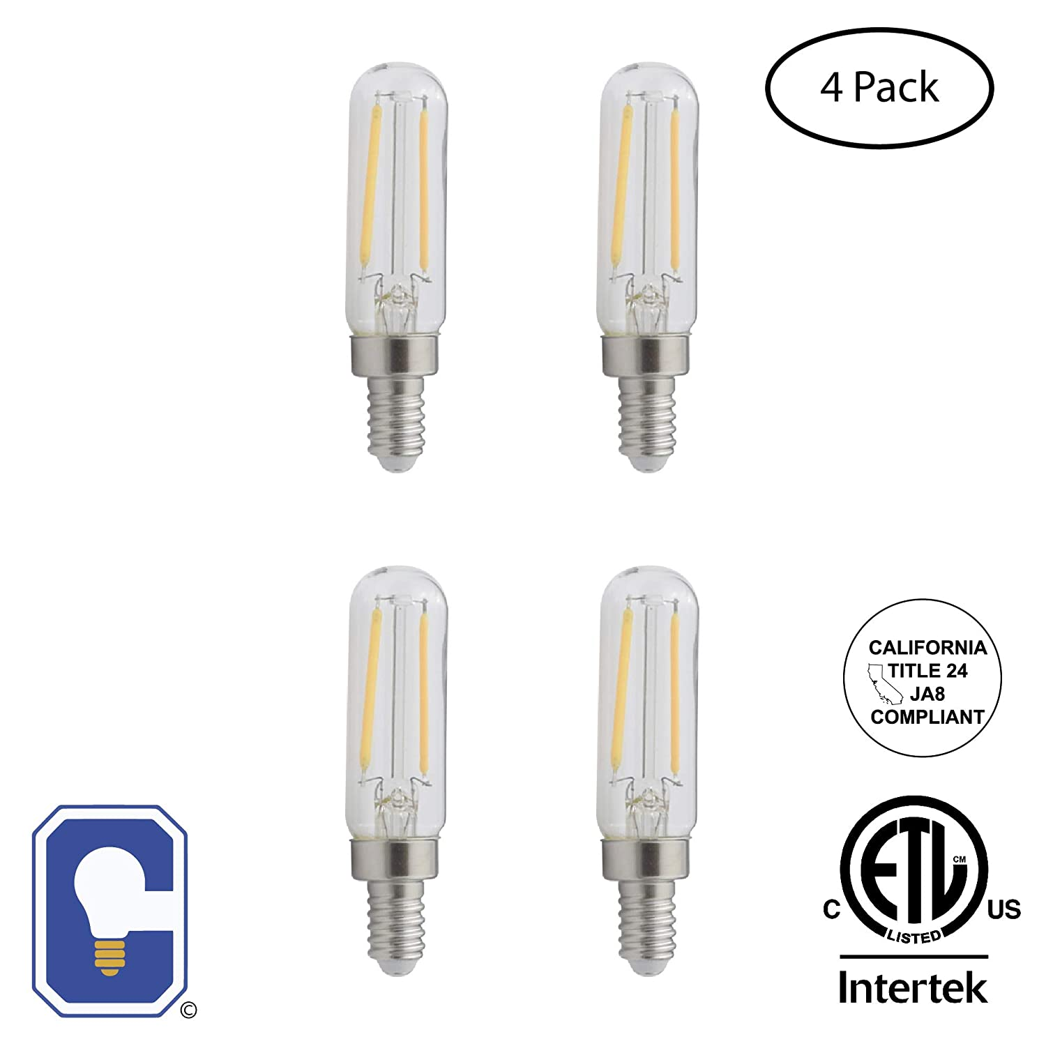 Dimmable Candex LED Filament 2700K 4 Pack JA8 E12 Base T6 Clear 2W 120V