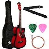 Juarez Acoustic Guitar, 38 Inch Cutaway with Pick Guard, 38C/RDS with Bag, Strings, Pick and Strap, Red Sunburst