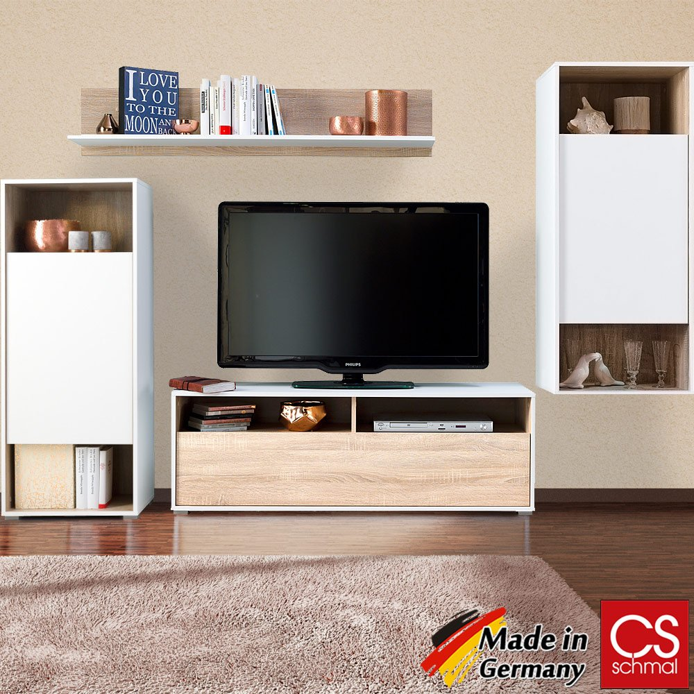 Wohnwand Anbauwand Schrankwand Wohnzimmerschrank Mediawand modern CS Schmal Made in Germany - Farbauswahl Eiche Weiß