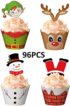 PRE-CUT Edible Christmas Cupcake Toppers Decorations Santa Reindeer Pudding Elf