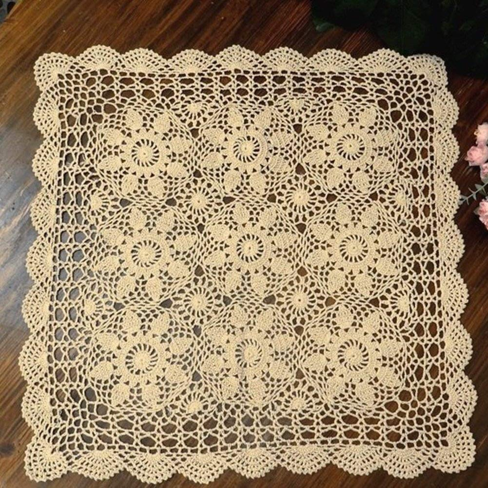 QEES Hecho a Mano Crochet Doilies algodón Encaje Cuadrado Mesa manteles Individuales, sofá Hueca de servilleta Decorativa Funda para Mesa (40 Pulgadas, ...