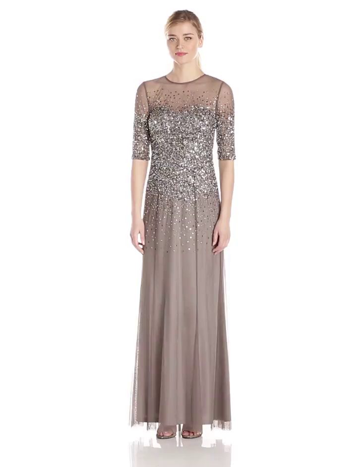 77155b8bed Amazon.com  Adrianna Papell Women s 3 4 Sleeve Beaded Illusion Gown with Sweetheart  Neckline  Clothing