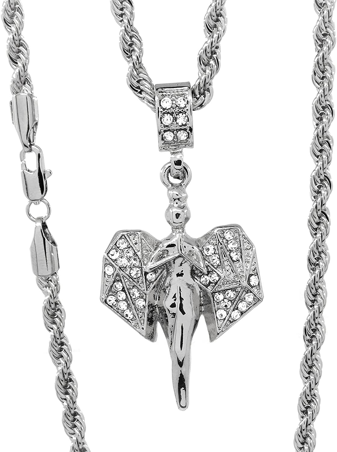 Hip Hop Style Mini Micro 3D Wings Cz Angel Silver Tone Pendant Rope Chain 4mm 24