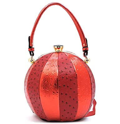 Amazon.com  Ruby Fashions Round Ball Metallic   Ostrich Bag w Strap ...