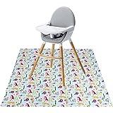 Tapis de protection pour chaise haute Winthome, grand format, protège le sol des éclaboussures, imperméable et antidérapant (110x110cm, motif animal)