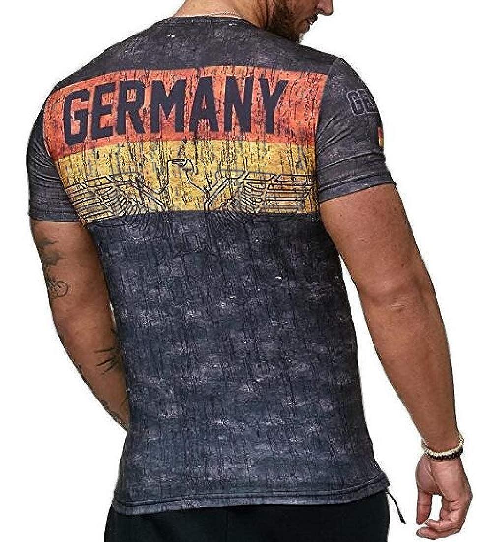 Zantt Mens Short Sleeve Bodybuilding Letter Print Slim T-Shirt Tee