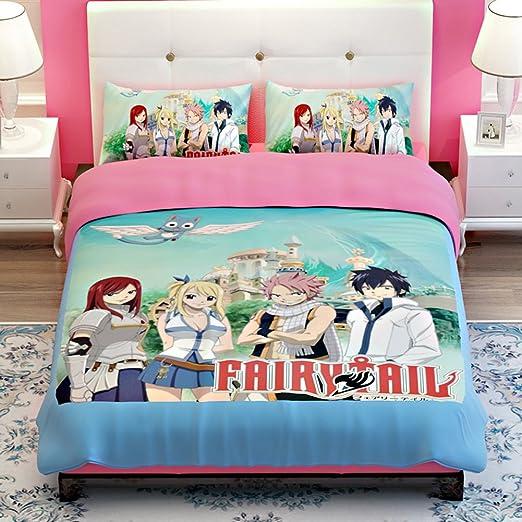 MeMoreCool Fairy Tail Anime conjuntos de ropa de cama infantil Clubhouse Super Suave Lujo 3 piezas TWIN Tamaño en diseño clásico juego de ropa de cama – funda de edredón, sábana y