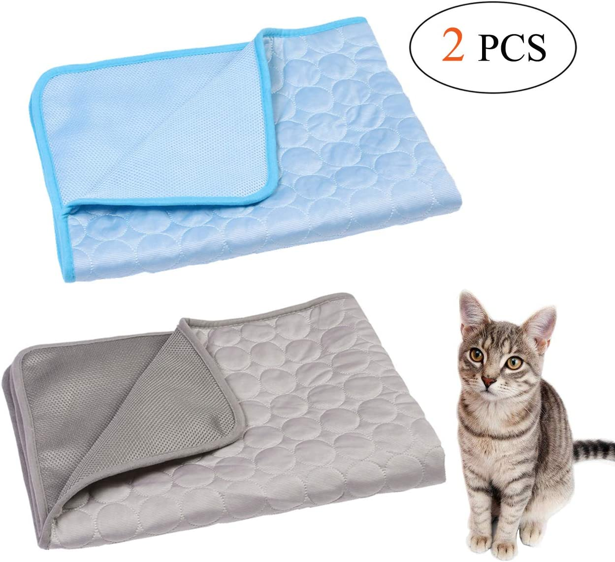 Wontee Pet Cooling Mat Dog Ice Silk Pad Blanket Washable Summer Sleeping Bed for Cats Dogs Kennel Sofa Bed Floor Travel Car Seats (Blue + Grey)