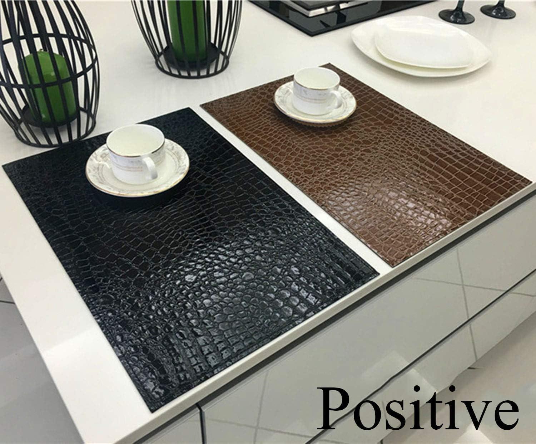 KACTZDZ Lot de 6 Sets de Table de Cuisine en PVC imperm/éable antid/érapant pour Table Basse 30 x 45 cm 30 Marron 45 CM