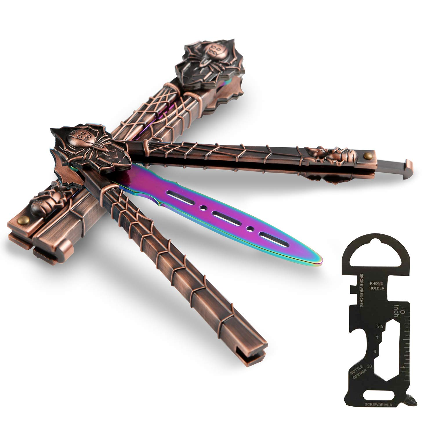 BenkerEsti Butterfly Knife Comb Trainer Balisong Trainer Colorful Design with Repair Tools Protective Cover Practice Butterfly Knife