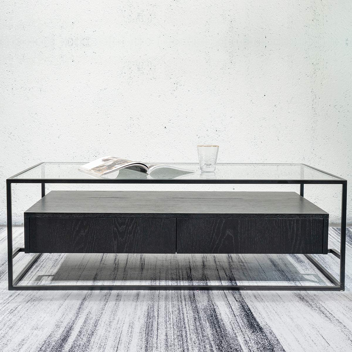 Rustic Rectangle Coffee Table with Storage Drawers, Retro Style Furniture with Metal Frame for Living Room,Easy Assembly