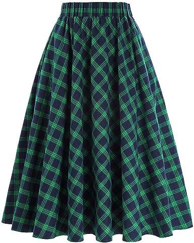 Availcx-Sexy Long Skirt Faldas Plisadas de Cintura Alta de Oto?o ...