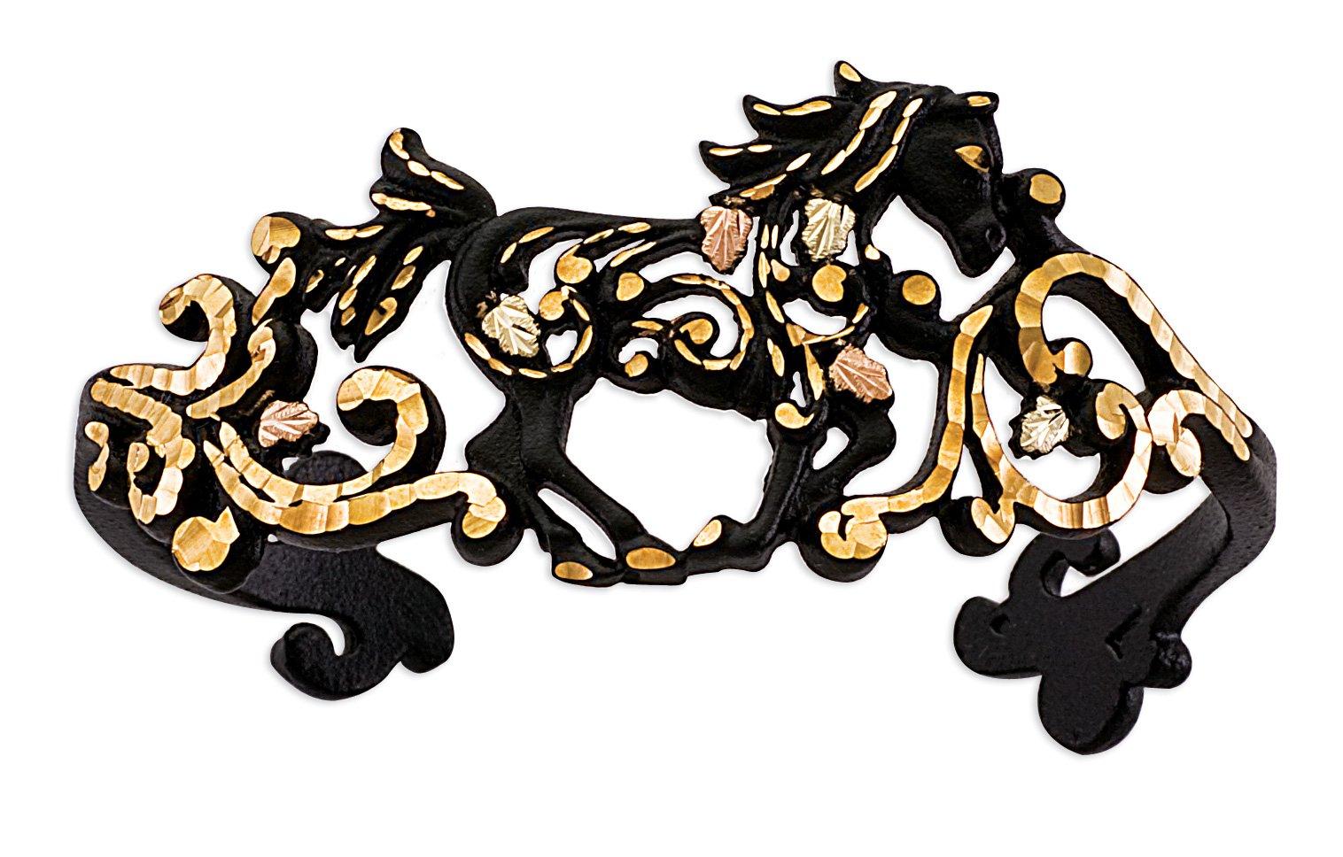 Black Powder Coat Horse Cuff Bracelet, 10k Yellow Gold, 12k Gold Black Hills Gold Motif, 7''