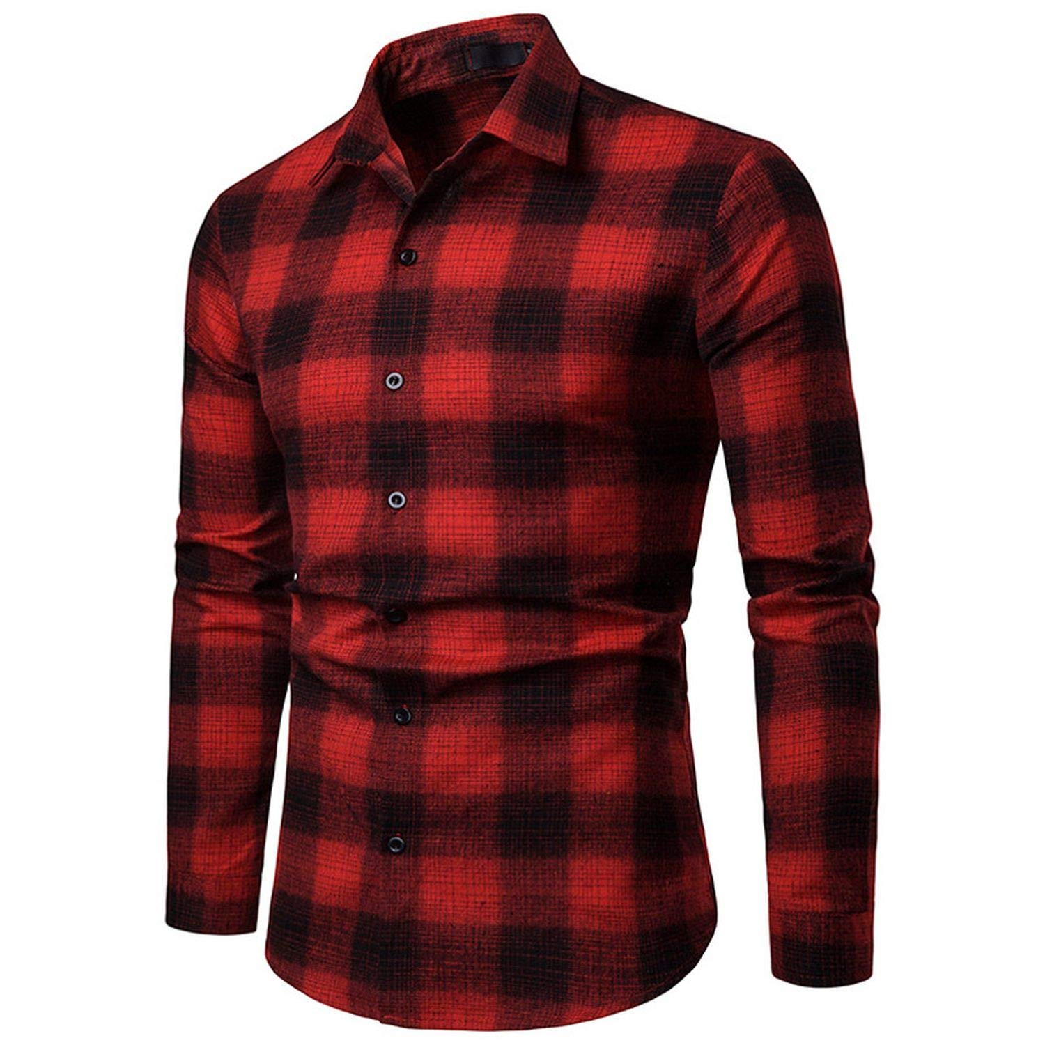 Casual Plaid Men Shirt Fashion Streetwear Mens Shirts Turndown Collar Long Sleeve Masculina Camisas