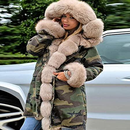 Besde Womens Autumn and Winter Fashion Faux Fur Winter Warm Plush Jacket Parka Hooded Coat Fishtail Long Down Coat: Baby