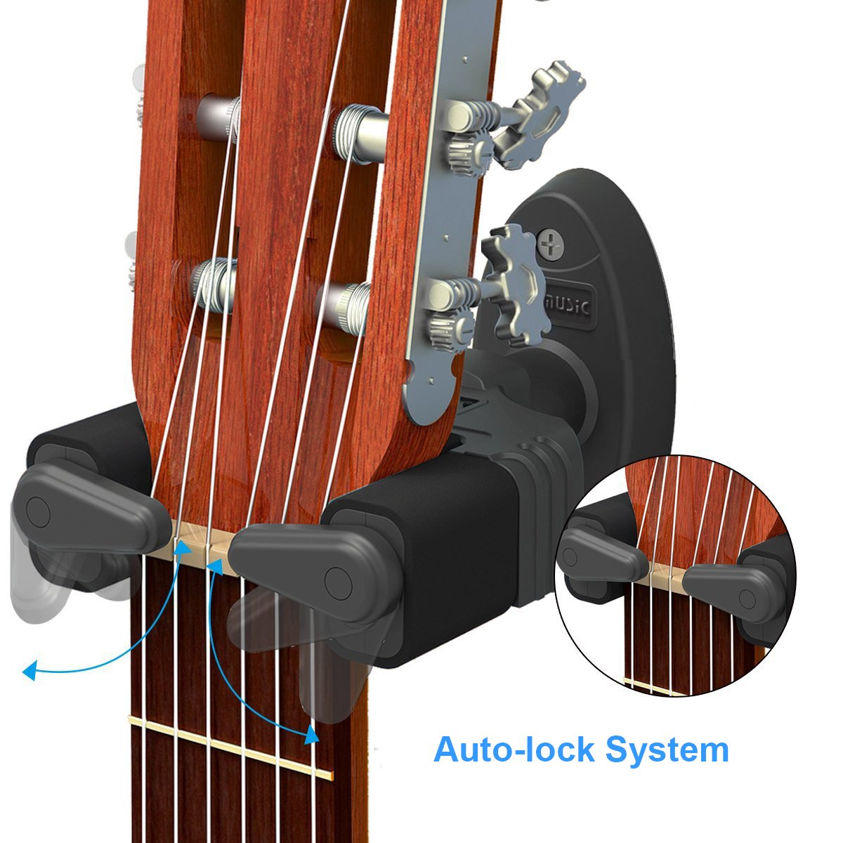WINGO Auto Lock Guitar Hanger Hook for Acoustic Electric Guitar Bass Ukulele Wall Mount Hanger. Black